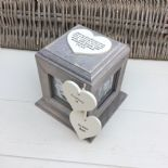Shabby Chic In Memory Of A Sister Rustic Wood Style Personalised Photo Cube Box